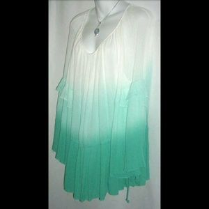 She and Sky Tops - She + Sky Ombre Tier Blouse Boho Bell Sleeves Sz S